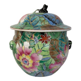 Chinoiserie Tobacco Leaf Lidded Pot/Vase For Sale