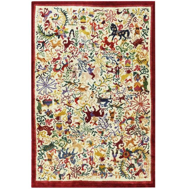"Vintage Ecuadorian Animal Carpet - 3′10″ × 5′7"" For Sale"