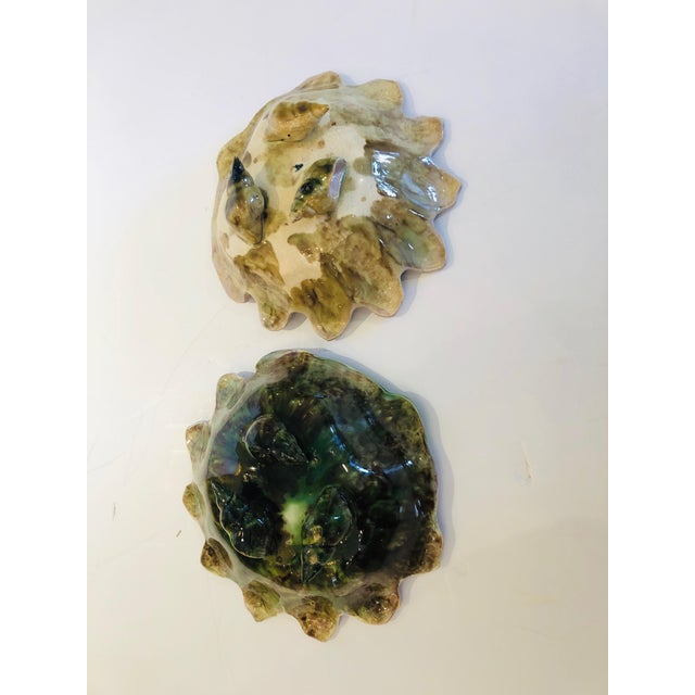 Pink and Green Majolica Clam Shell Bowls - a Pair For Sale In Philadelphia - Image 6 of 13