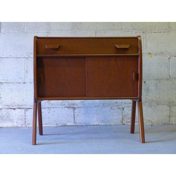 Danish Modern Mid Century Modern Teak Cabinet / Mini Credenza For Sale - Image 3 of 7