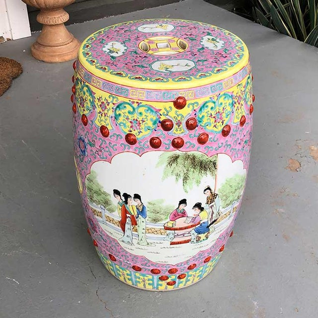 1960s Chinoiserie Chinese Famille Rose Pink Yellow Ceramic Garden Seat Stool For Sale - Image 10 of 10