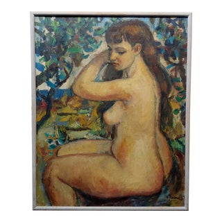 "Robert Frame ""Young Nude Woman Seated"" Oil Painting For Sale"