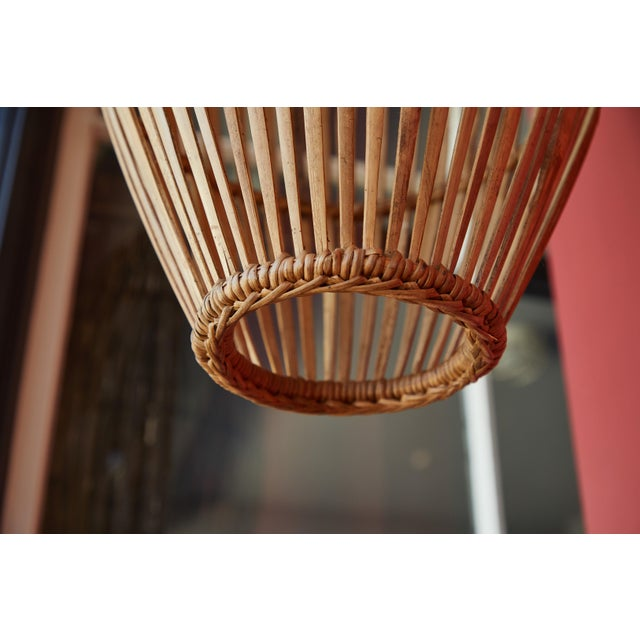 Brown Rattan Hanging Pendant Lamp For Sale - Image 8 of 9