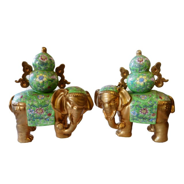 Ceramic Famille Verte Style Elephants - a Pair For Sale - Image 7 of 10
