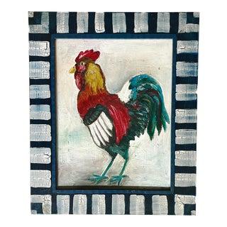 Vintage Folk Art Rooster Oil on Canvas in Painted Frame For Sale