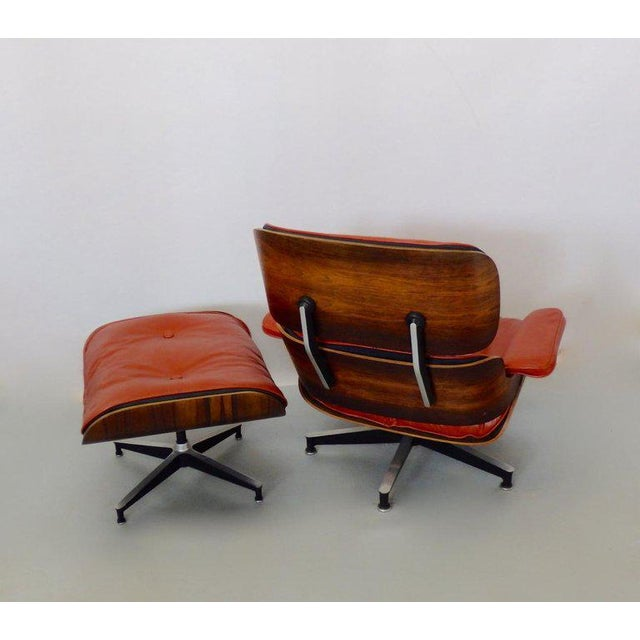 Red Eames for Herman Miller Rosewood With Red Leather 670 Lounge Chair and Ottoman For Sale - Image 8 of 11