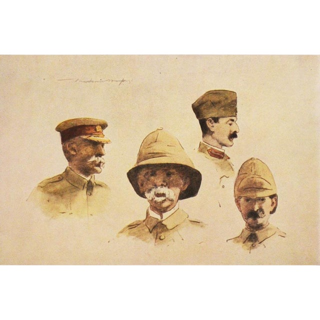 1901 M. Menpes, Lord Roberts and Stuff Original Lithograph For Sale