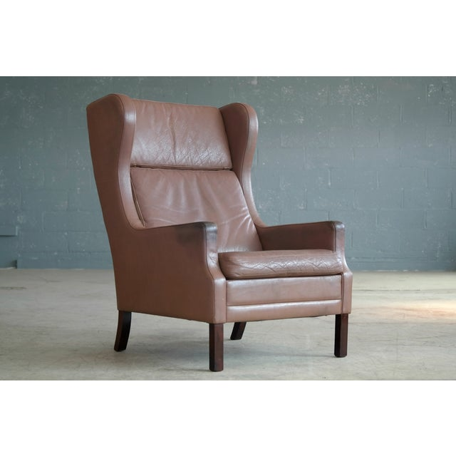 Borge Mogensen Style Leather Wingback Chair - Image 3 of 8
