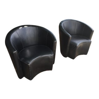 Mid Century Modern Leather Club Chairs - a Pair