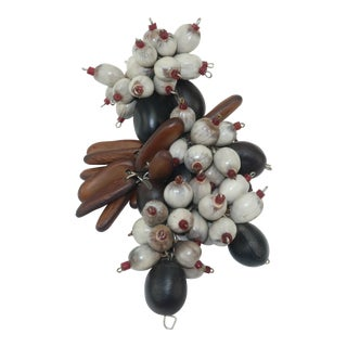 Exotic Wood & Seed Beaded Organic Dress Clip Brooch, C.1940 For Sale
