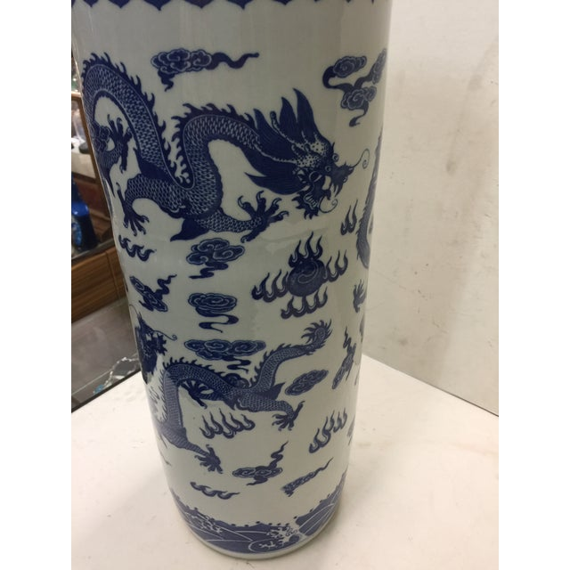 Asian Chinese Blue and White Umbrella Stand Dragon Decoration For Sale - Image 3 of 5