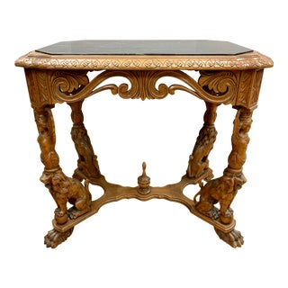 Regency Revival Carved Lion Table With Marble Top For Sale