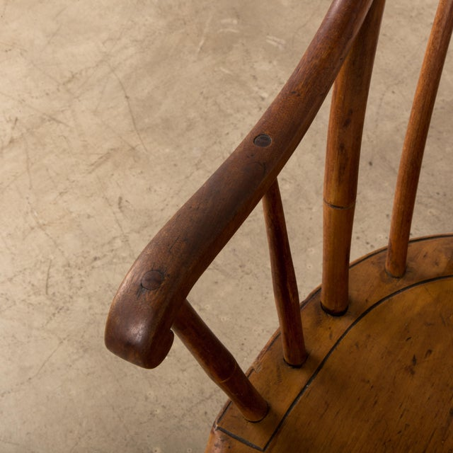 Brown Mid 19th Century Antique American Comb-Back Windsor Rocker For Sale - Image 8 of 12