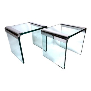 Modern Waterfall Glass & Chrome Side Tables by Leon Rosen / Pace For Sale