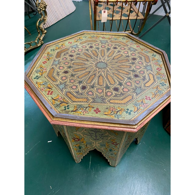 Islamic 1970s Moorish Octagonal Hand Painted Accent Table For Sale - Image 3 of 9