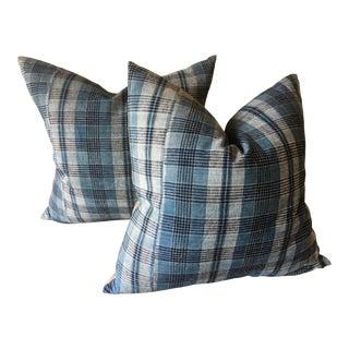 Vintage Japanese Indigo Blue & White Plaid Pillows, Pair For Sale