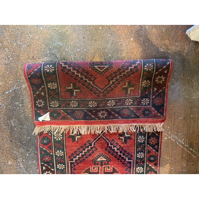 Vintage Distressed Hand-Tied Red Runner For Sale - Image 11 of 13