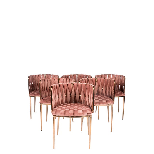 Modern Milano Rose Velvet and Gold Dining Chairs - Set of 6 For Sale - Image 4 of 4