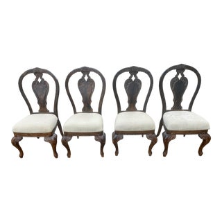 Vintage Curved Carved Wood Chairs Set of 4 For Sale