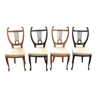 Antique Scroll Harp Back Chairs - Set of 4