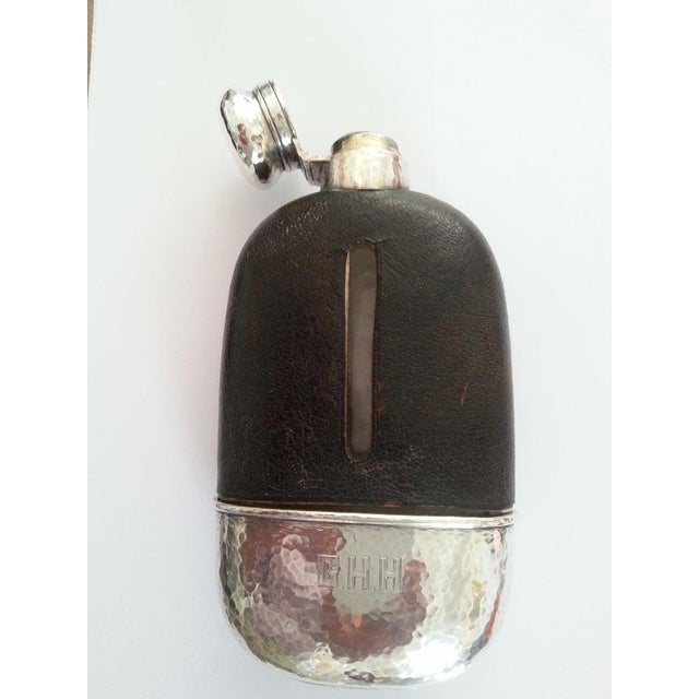 Black 1920s English Art Deco Hip Flask in Sterling Silver, Gold Wash, Leather & Hand Blown Glass For Sale - Image 8 of 13