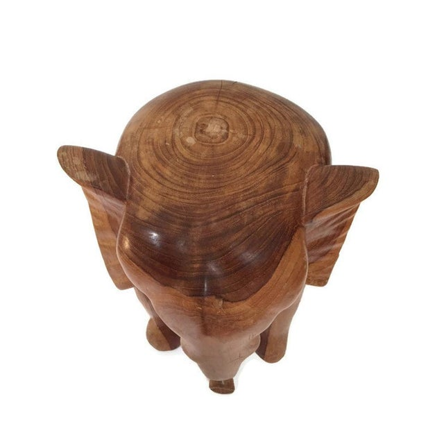 Vintage Carved Wood Elephant Pedestal Statue 11 Inch For Sale In Richmond - Image 6 of 12