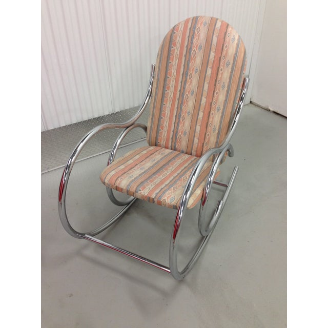 Mid Century Modern Chrome Rocking Chair For Sale - Image 5 of 7