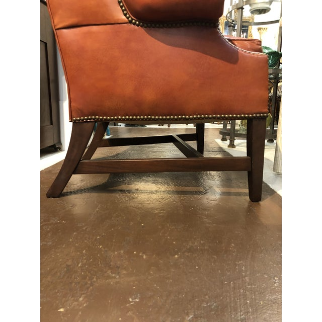 1970s Vintage Georgian Style Orange Leather Arm Chair With Brass Tacks & Stretcher For Sale - Image 5 of 13