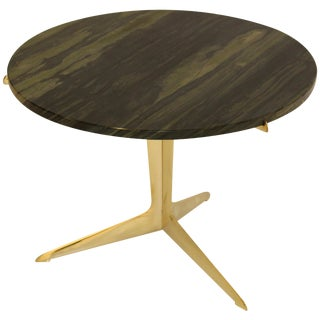 Modernist Italian Brass and Marble Side Table