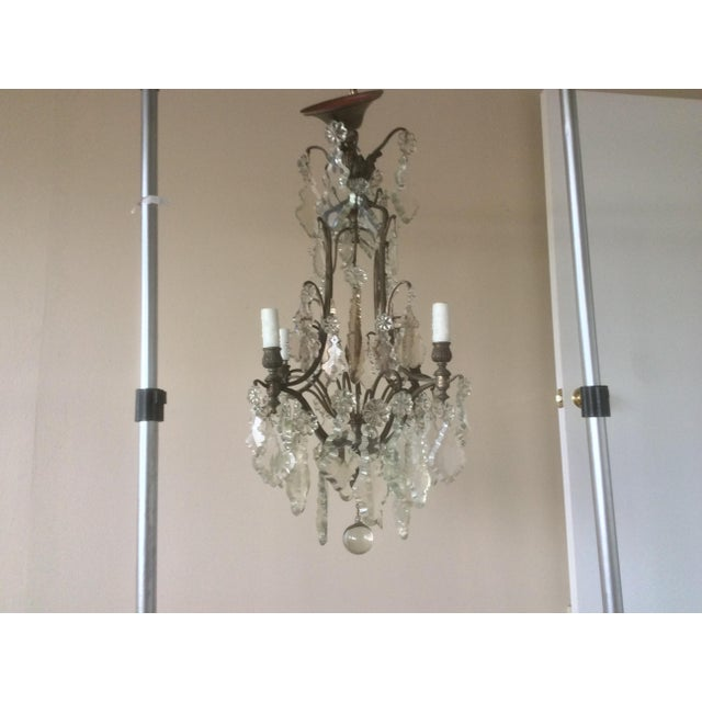 Transparent French Four Light Chandelier With Cut Crystal Prisms For Sale - Image 8 of 12