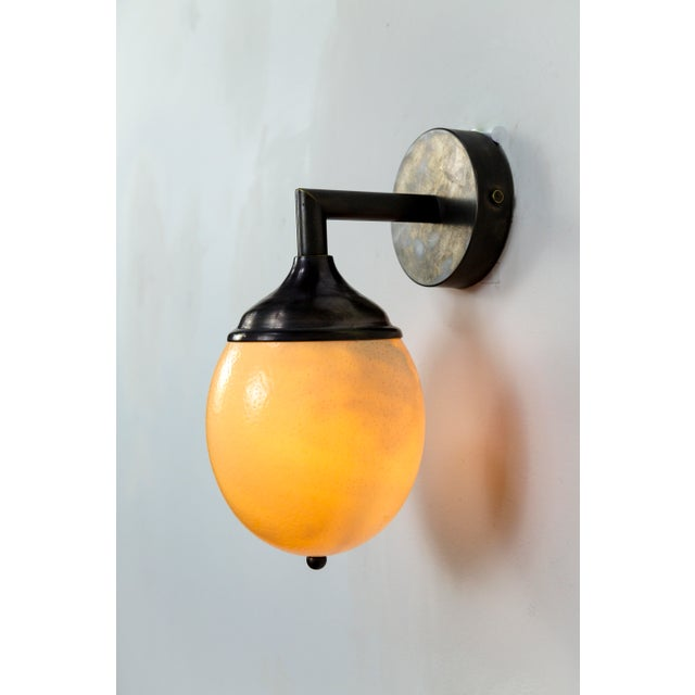 White Ostrich Egg Cast Brass Arm Sconce For Sale - Image 8 of 11