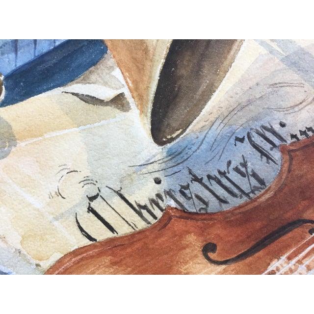 Vintage 1950's Watercolor Painting MusicViolin Trumpet Keyboards - Image 8 of 9
