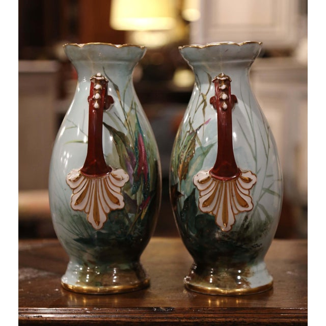 Pair of 19th Century French Painted and Gilt Porcelain Vases With Bird Decor For Sale - Image 9 of 12