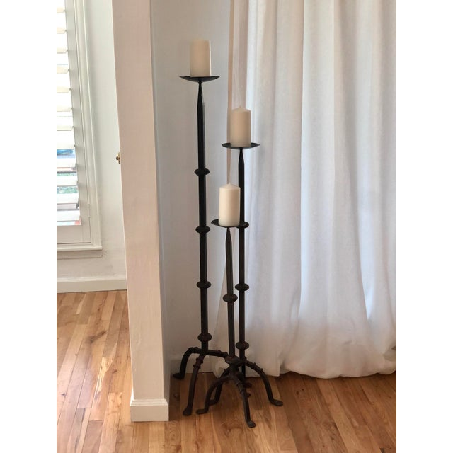 Vintage Spanish 3 Piece Wrought Iron Floor Candle Holders Set Of