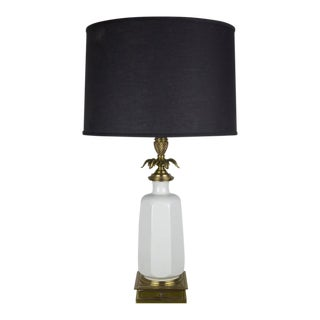 Midcentury White Porcelain and Brass Table Lamp