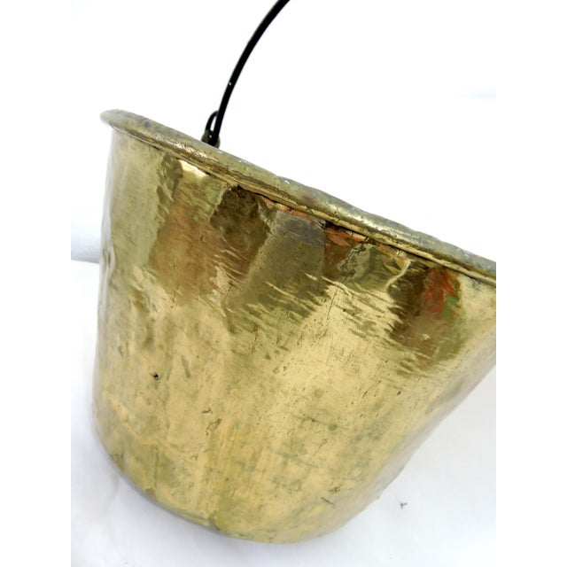 19th Century Antique American Solid Brass Fireplace Bucket or Scuttle For Sale - Image 4 of 8