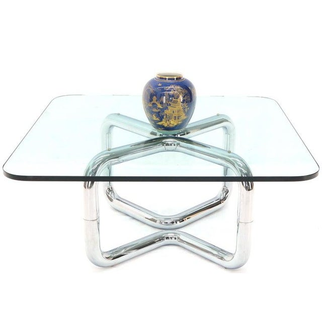 1970s Rounded Corners Square Coffee Table on Thick Bent Tube Chrome Base For Sale - Image 5 of 13