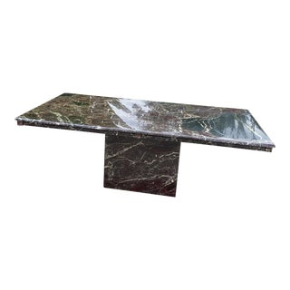 Vintage Rosso & Moss Postmodern Marble Dining Table For Sale