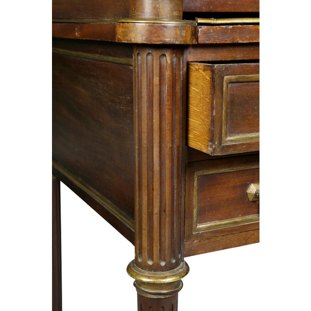 Gold Directoire Style Mahogany and Brass Mounted Cylinder Desk For Sale - Image 8 of 13