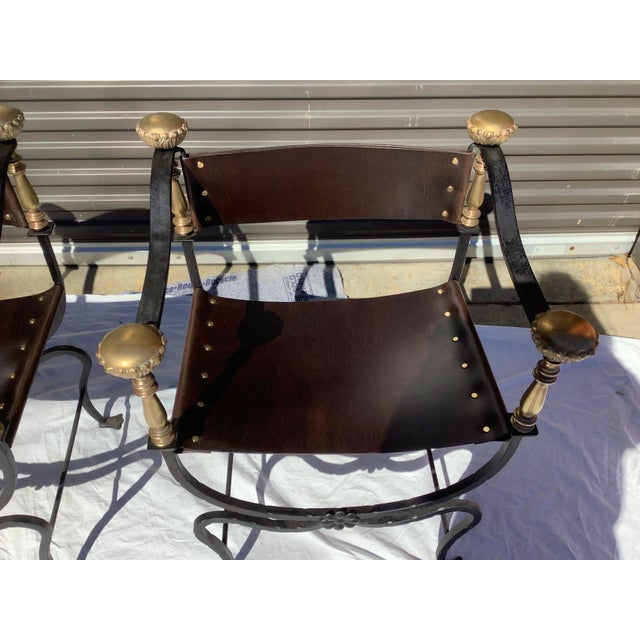 1960s Italian Savaronola Style Chairs, a Pair For Sale - Image 4 of 12