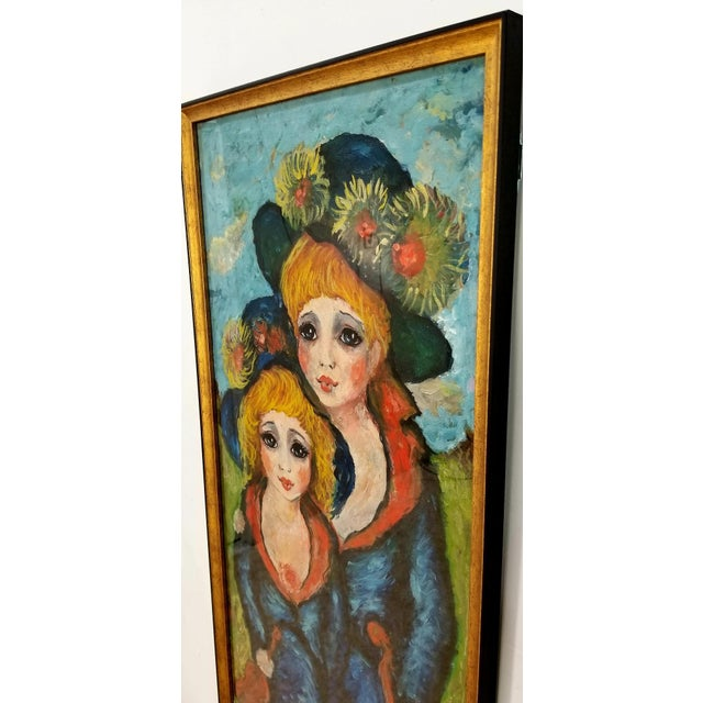 Blue 1960s Mid Century Original Oil Painting on Canvas For Sale - Image 8 of 12