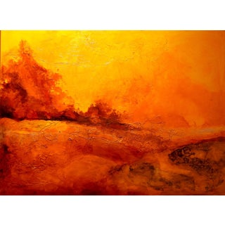"""Contemporary Landscape Oil Painting on Canvas, """"Deserted Sun"""" with Grunge Background For Sale"""