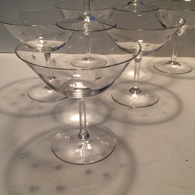 Vintage Atomic Starburst Etched Crystal Champagne Glasses - Set of 7 - Image 8 of 11