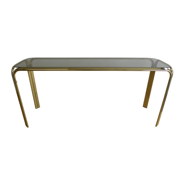 Smoked Glass Brass Console Table For Sale