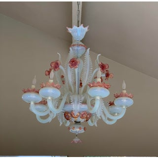 1940's Floral Pink Murano and Opaline Glass Chandelier Preview