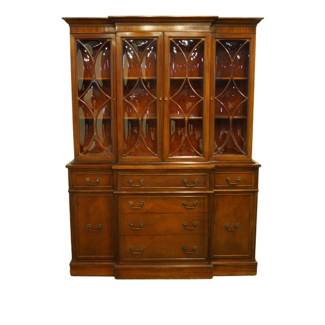 1960s Mahogany Traditional Style Secretary Credenza With Display China Cabinet Hutch For Sale - Image 13 of 13