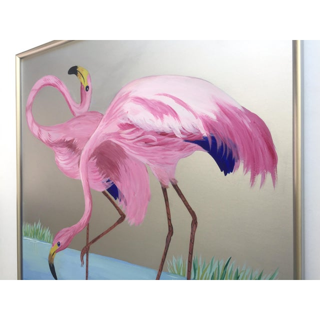 """Rare Vintage 1950s Art Deco """" Pink Flamingos in Lagoon """" Framed Original Fine Art Gouache Painting on Board For Sale - Image 11 of 13"""