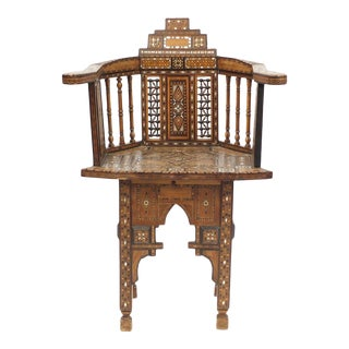 Moorish Walnut Chair Marquetry Mother of Pearl Inlay Syrian, circa 1890 For Sale