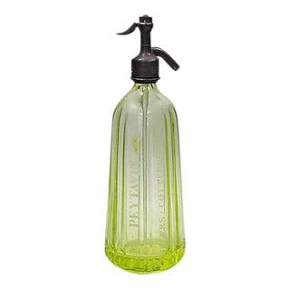 French Bistro Vaseline Glass Soda Bottle