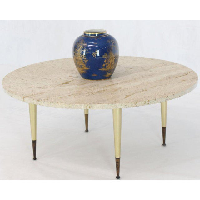 Italian Modern Round Travertine Top Coffee Table on Tapered Metal Legs Base For Sale - Image 10 of 11
